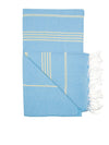 Classic Turkish Towel, Golden Turquoise Blue