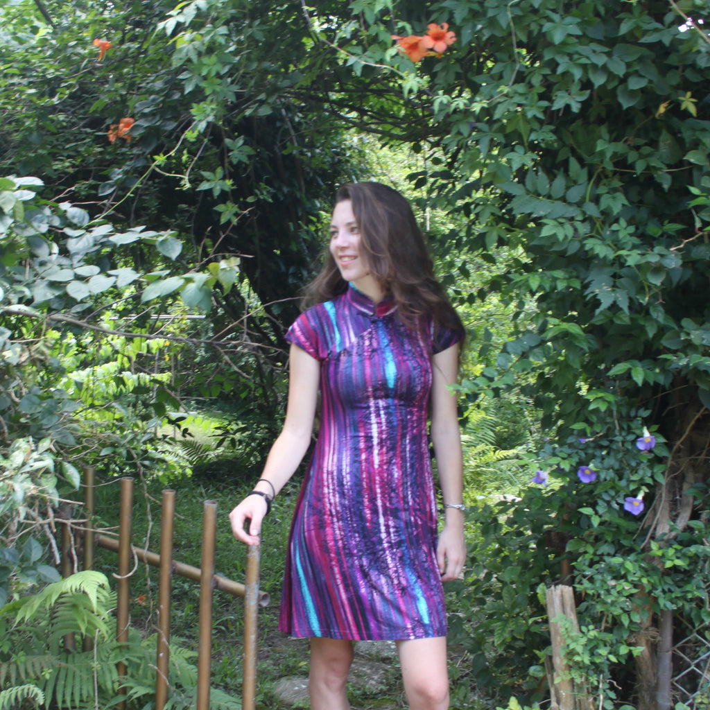 'Yung Chung' Flared Qipao (Purple Enchanting Forest)
