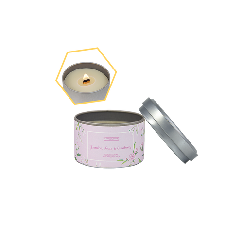 Jasmine, Rose & Cranberry Beeswax Tin Candle by Carroll&Chan
