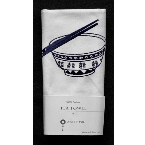 Blue Rice Bowl Tea Towel by Zest of Asia