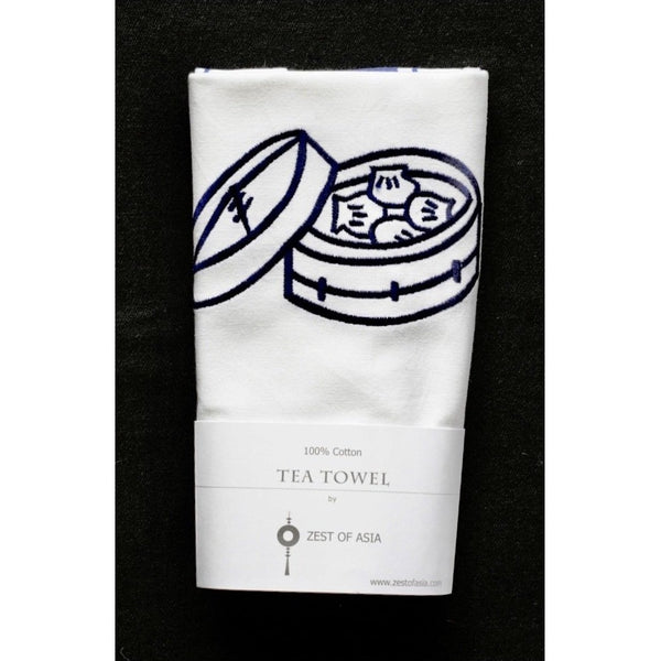 Blue Dim Sum Basket Tea Towel by Zest of Asia