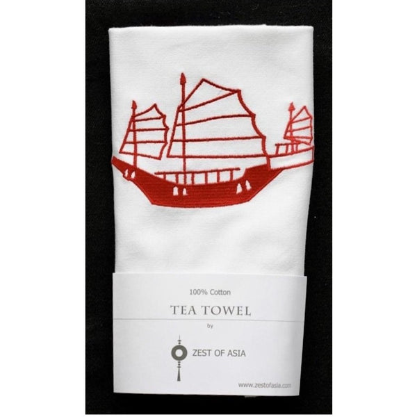 Red Junk Tea Towel by Zest of Asia