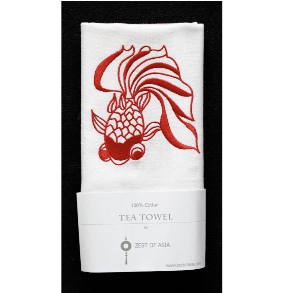 Red Goldfish Tea Towel by Zest of Asia