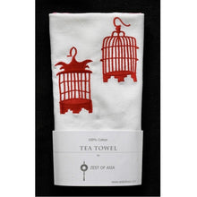Load image into Gallery viewer, Red Birdcages Tea Towel by Zest of Asia