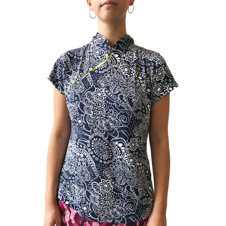 Double Layer Asymmetric Qipao dress (Navy)