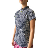 Mui Jai Top with Contrast Buttons (Arabic Floral/Neon)