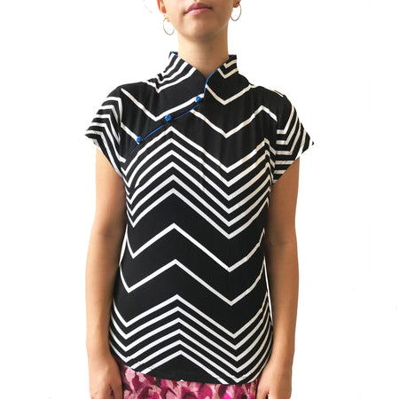 Stand Collar Mui Jai Top, Blue Striping/Yellow