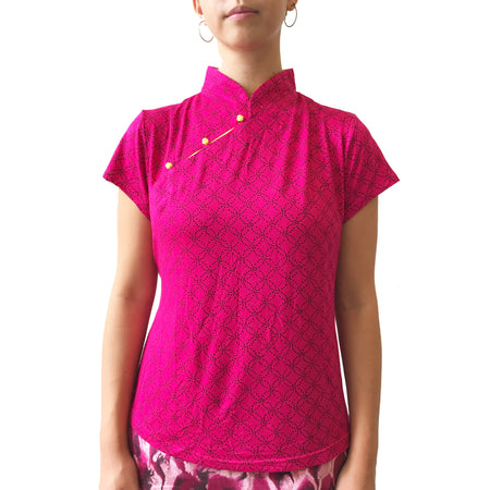 Mui Jai Top with Contrast Buttons (Grey Chevron/Coral)
