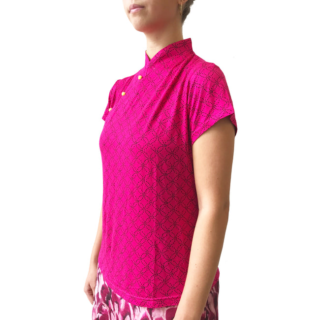 Mui Jai Top with Contrast Buttons (Red Coins/Yellow)
