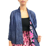 Kimono with Chinese zip details, Denim Blue