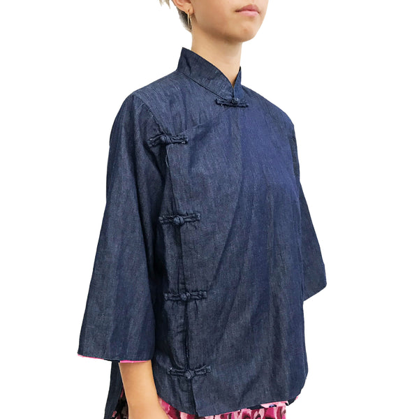 High Low Cheongsam with contrast lining, Denim Blue