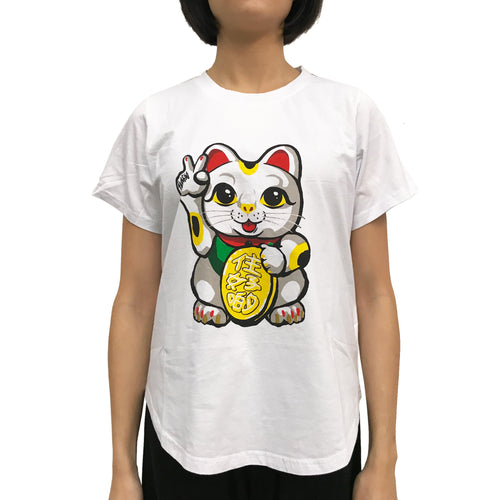 'Lucky Cat, Victory' Ladies T-shirt, White
