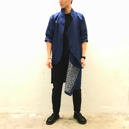 CheongSam with camouflage lining, Denim Blue