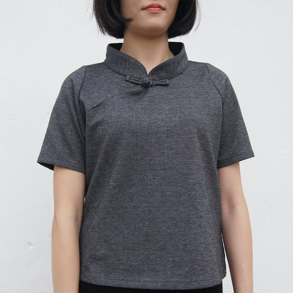 Wide Collar Mui Jai Top in 'Denim Black'
