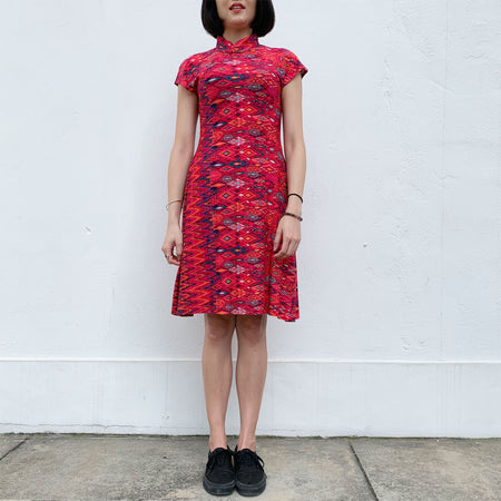 'Navy Spiral' Qipao Dress
