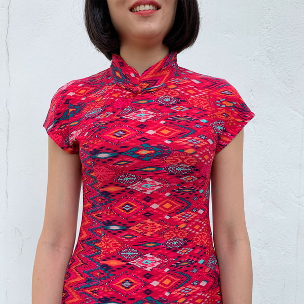 'Maroon Aztec' Printed Qipao Dress