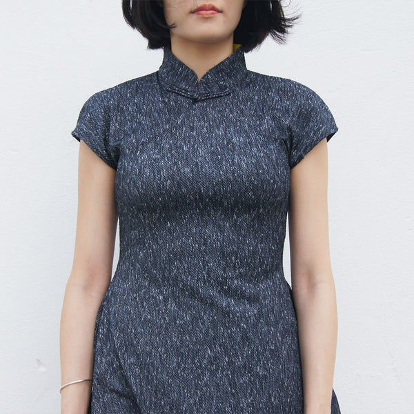 'Melange Grey Herringbone' Jacquard Qipao Dress
