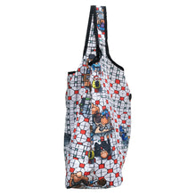 Load image into Gallery viewer, 'Mosaic Hawker' foldable shopping bag with button