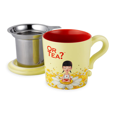 Or Tea MUG w/lid & tea strainer - Ivory