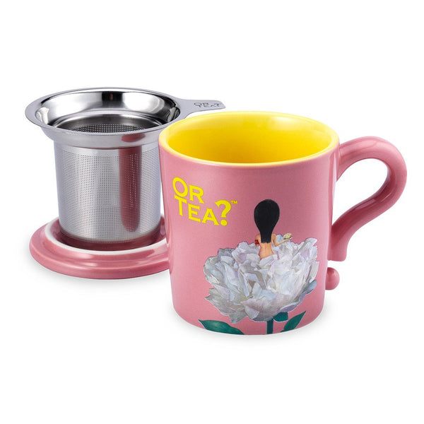 Or Tea? Mug With Lid & Tea Strainer, Lime Green