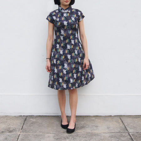 'Yung Chung' Jacquard Qipao dress, Blue Scallop