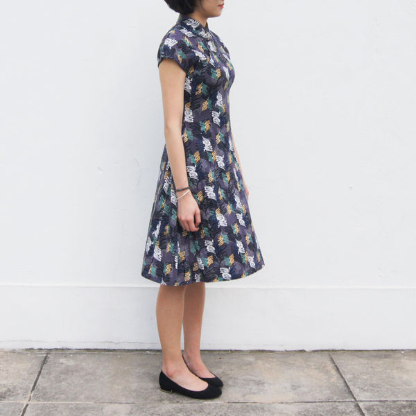'Grey Multi-Leaves' Printed Qipao Dress