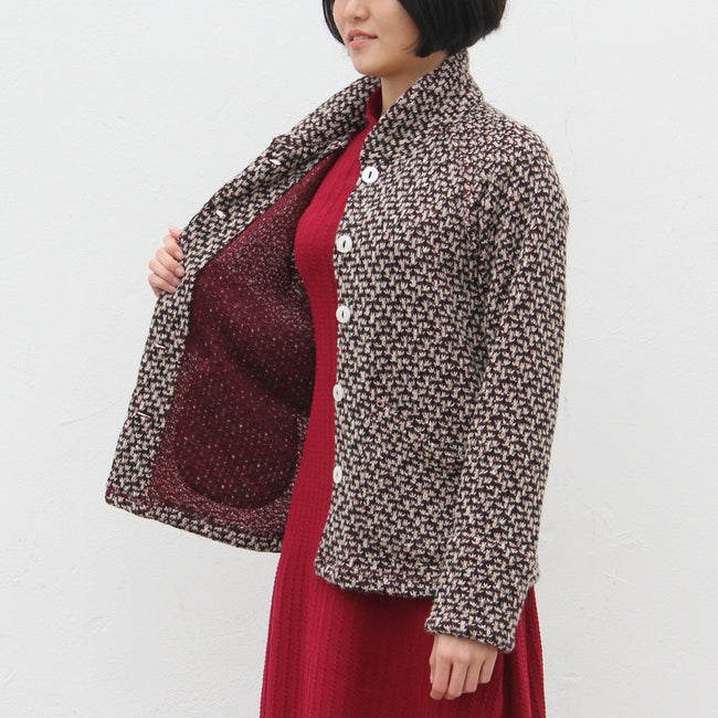 Chinese Collar Jacket, Burgundy/Beige