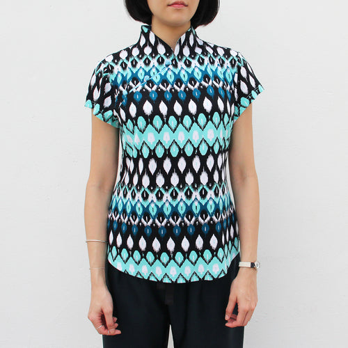 Printed Mui Jai with contrast buttons (Blue Ikat)