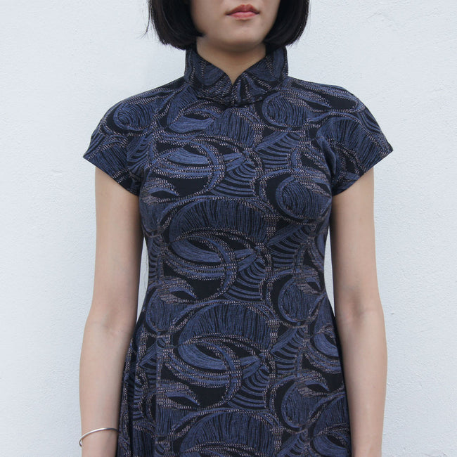 'Spiral in Navy' Printed Qipao Dress