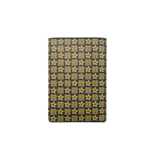 'Double Happiness & Bauhinia' leather passport holder