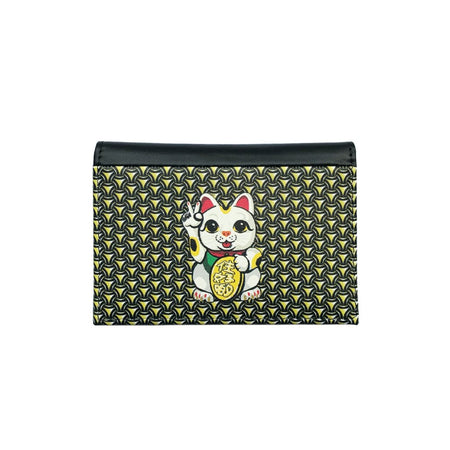 'Lucky Cat Armour' leather passport holder