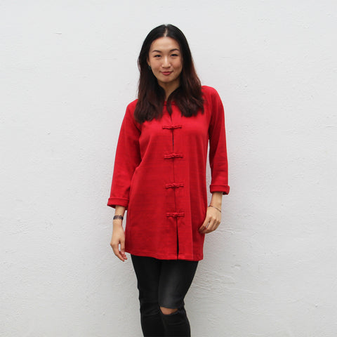 Chinese buttons jacket with rounded collar (red marl)