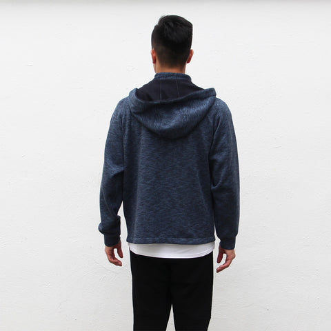 Chinese collar hooded fleece jacket (indigo and navy)