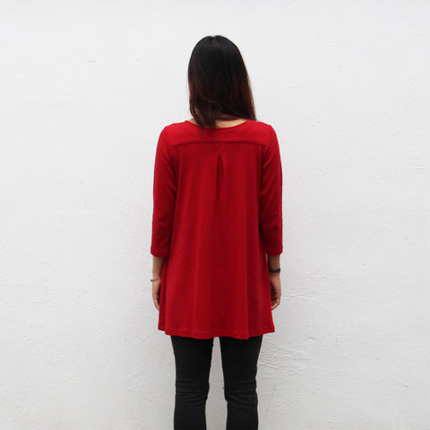 Chinese button mid-sleeve doll dress (red pointelle)