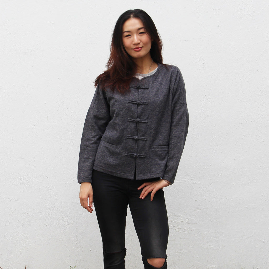 Chinese buttons cardigan (grey and navy)