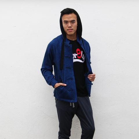 Chinese collar hooded fleece jacket (blue and navy)