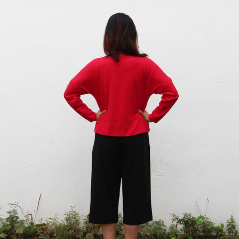 Chinese buttons cardigan (red)