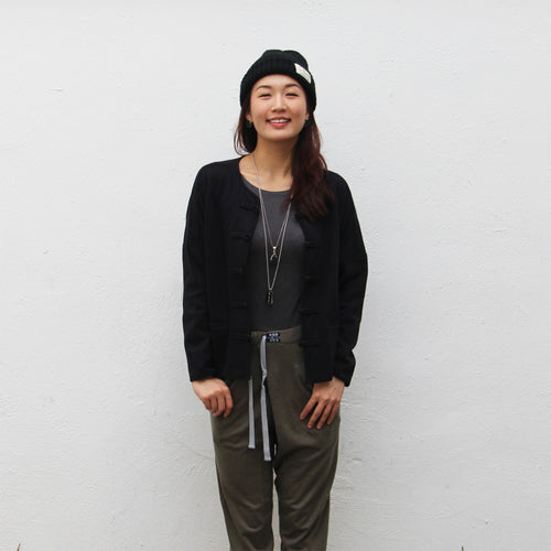 Chinese buttons cardigan (black)