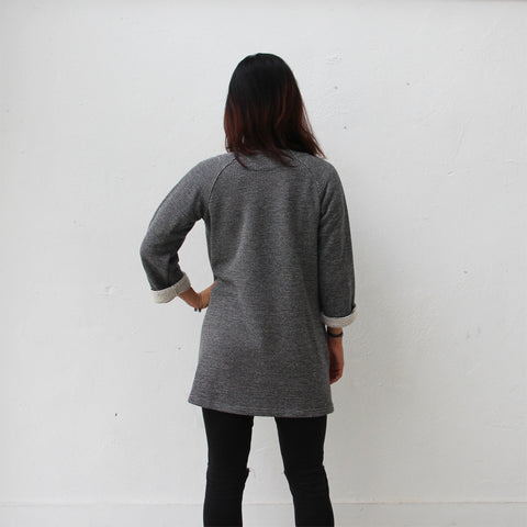 Chinese buttons jacket with rounded collar (grey and white)