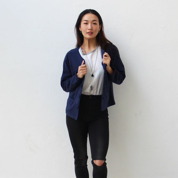 Chinese buttons cardigan (navy)