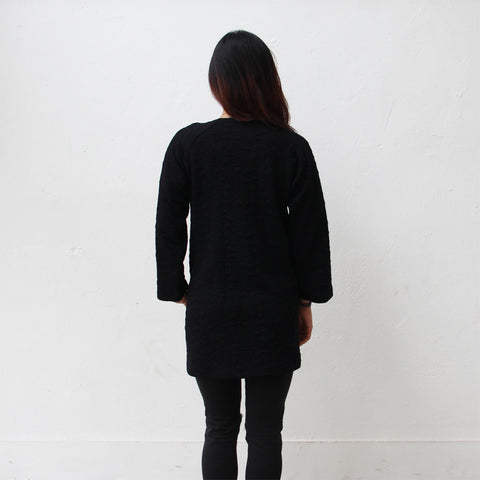 Chinese buttons jacket with rounded collar (black)