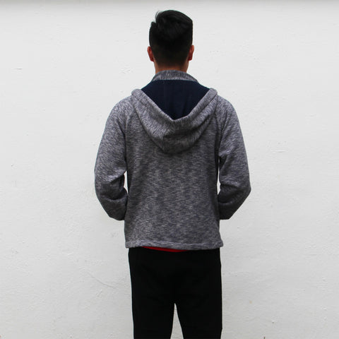 Chinese collar hooded fleece jacket (grey and navy)