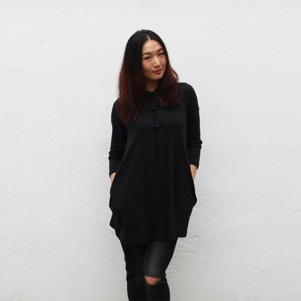 Chinese button mid-sleeve doll dress (black pointelle)