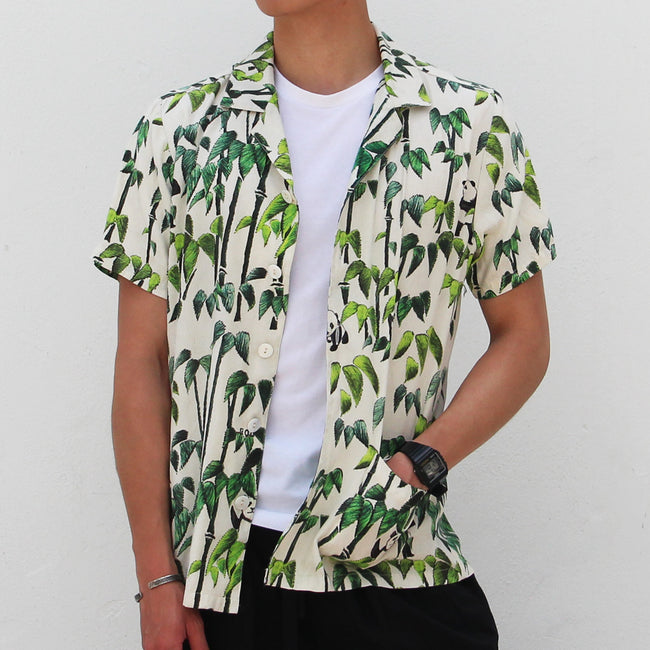 Overall printed Silk Shirt, Bamboo/Ivory