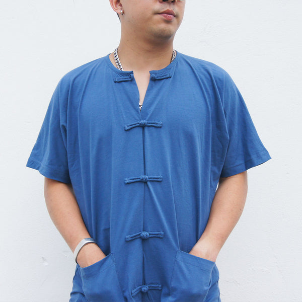 Oversized Fold Chinese Buttons Top In Ocean Blue