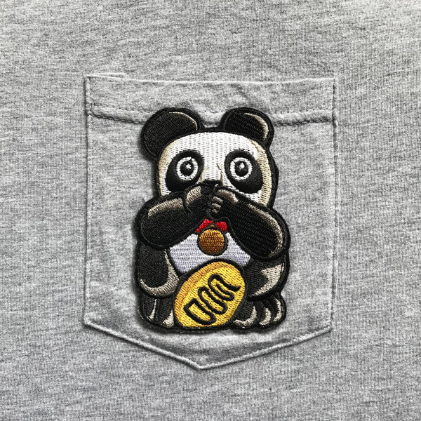 Speak No Evil Panda Pocket T-Shirt, Grey
