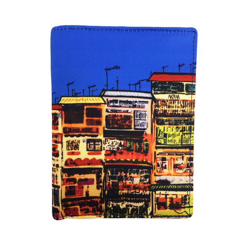 'Alex Croft x G.O.D. graffiti wall' passport holder with leather