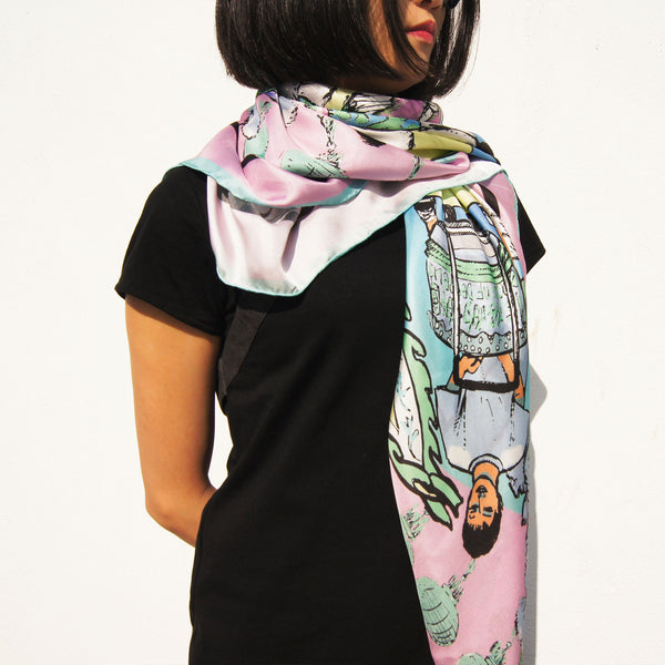 'Lion Dance' Pink Square Silk Scarf