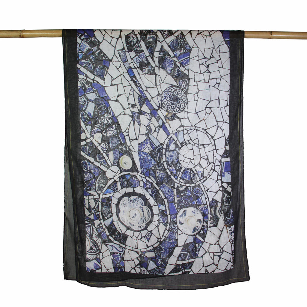 'Porcelain Mosaic' cotton scarf