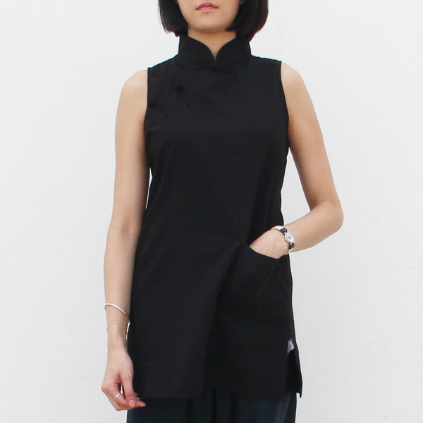 Qipao Tunic with Side Zippers Detail (Black)